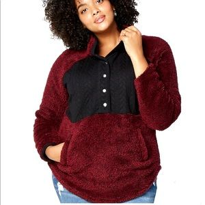 🎁🎄SIZE LARGE-BURGUNDY QUILTEDSHERPA PULLOVER